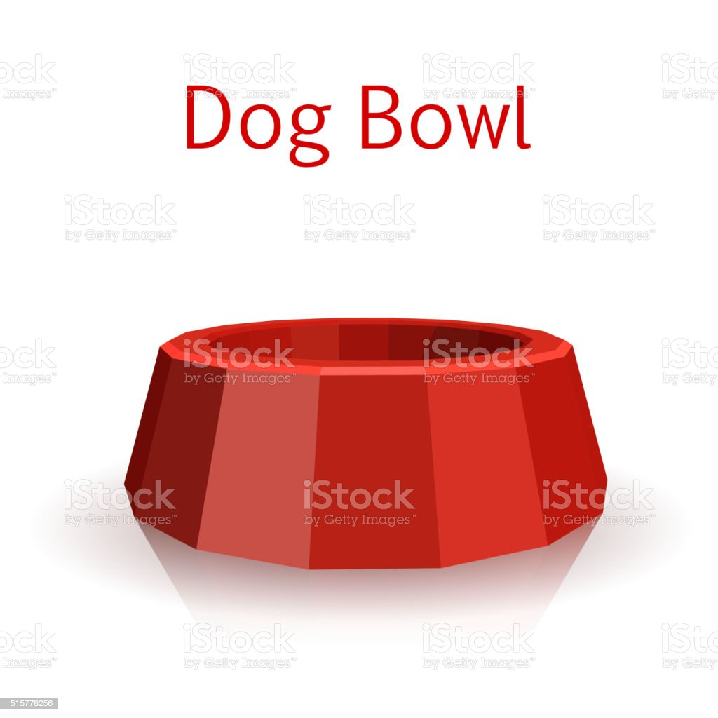 The single red icon pet bowls isolated on white background.Dog. vector art illustration
