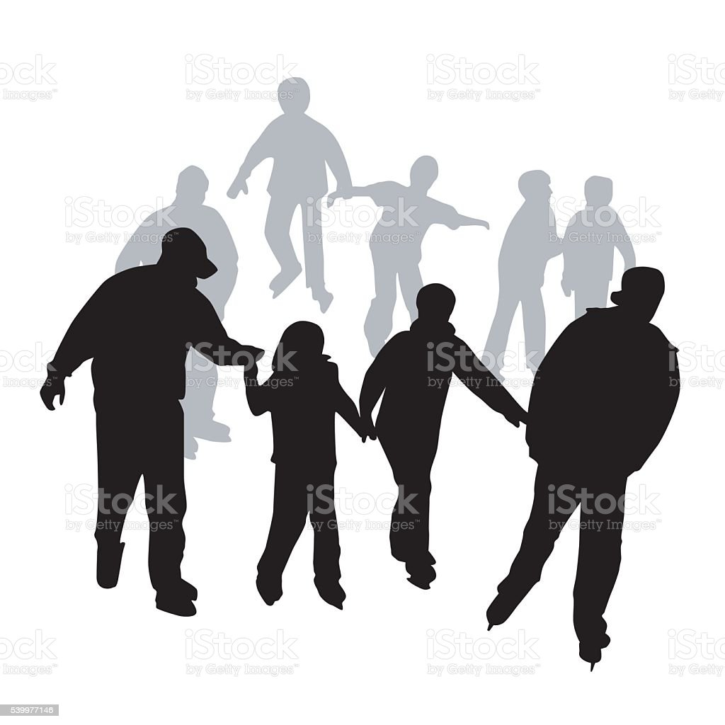 The Skating Crowd vector art illustration
