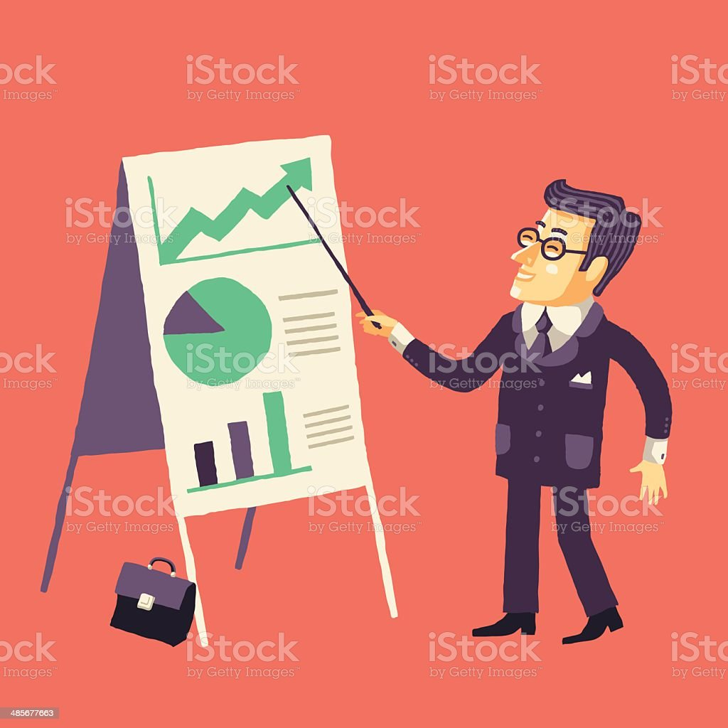 The Smiling Businessman giving a Projects Presentation. vector art illustration