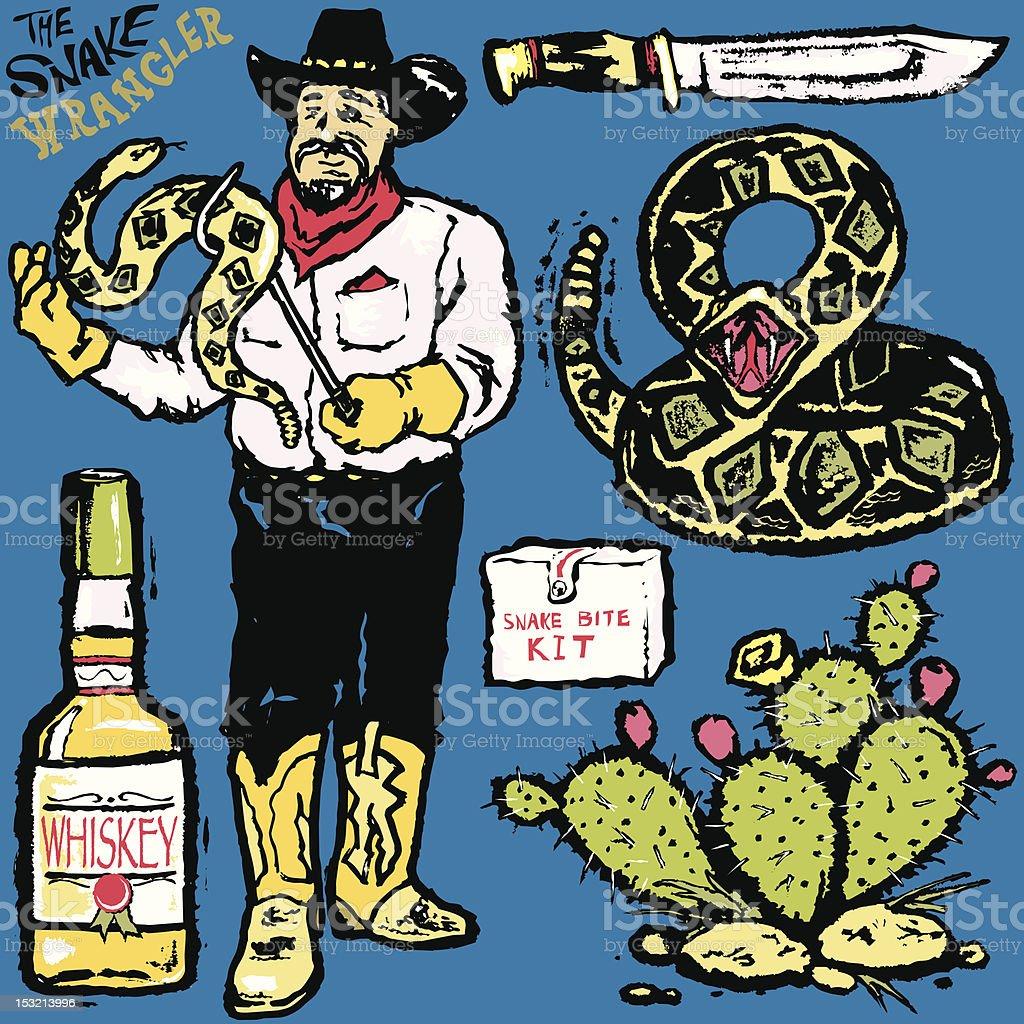 The Snake Wrangler vector art illustration