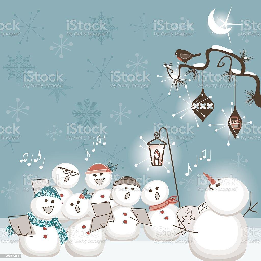 The Snowman choir vector art illustration