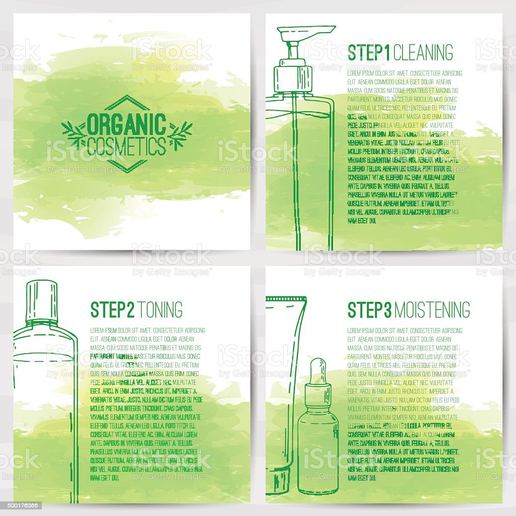 The square booklets about organic cosmetics. Three-step skin care. vector art illustration
