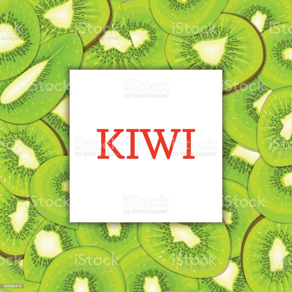 The Square frame on ripe kiwi fruit background. Vector card illustration. Delicious fresh and juicy kiwifruit peeled, piece of half, slice, seed. appetizing looking for packaging design food juice. vector art illustration