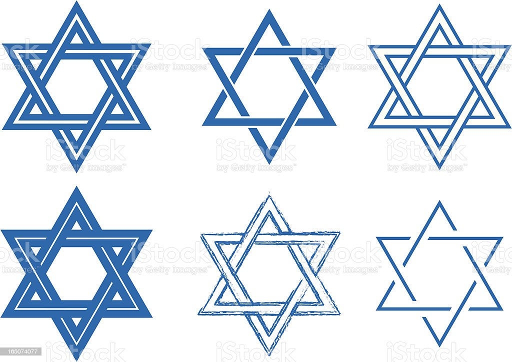 The Star of David, six detailed vector designs royalty-free stock vector art