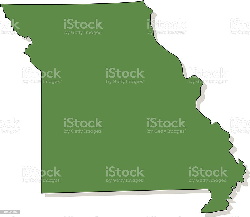 The state of Missouri colored in green royalty-free stock vector art