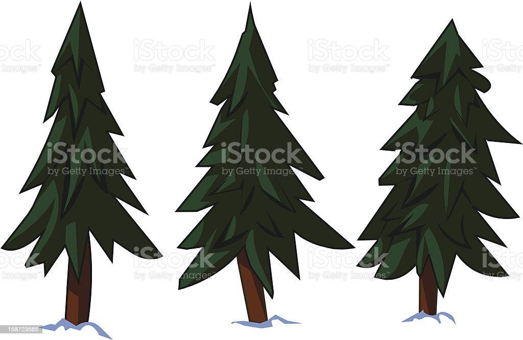 The station of three Pine trees in the snow royalty-free stock vector art