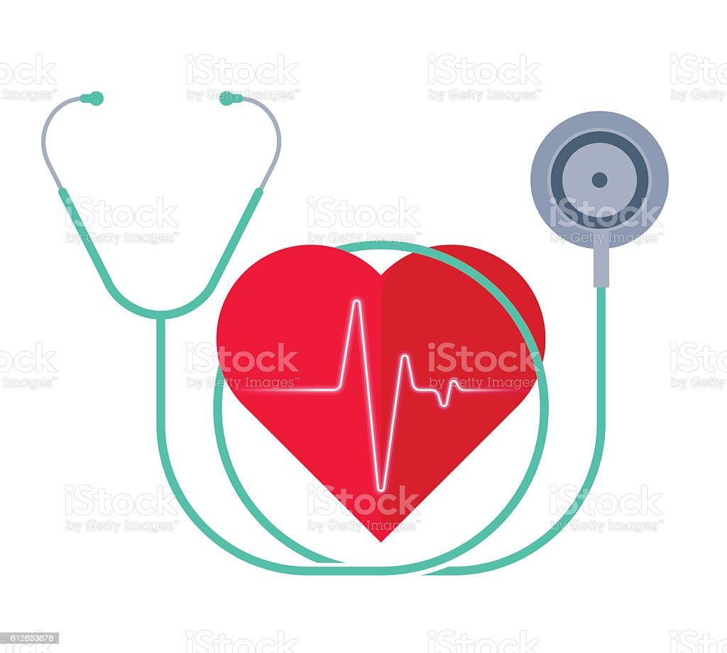 The stethoscope and a heart with pulse. Medicine and health. vector art illustration