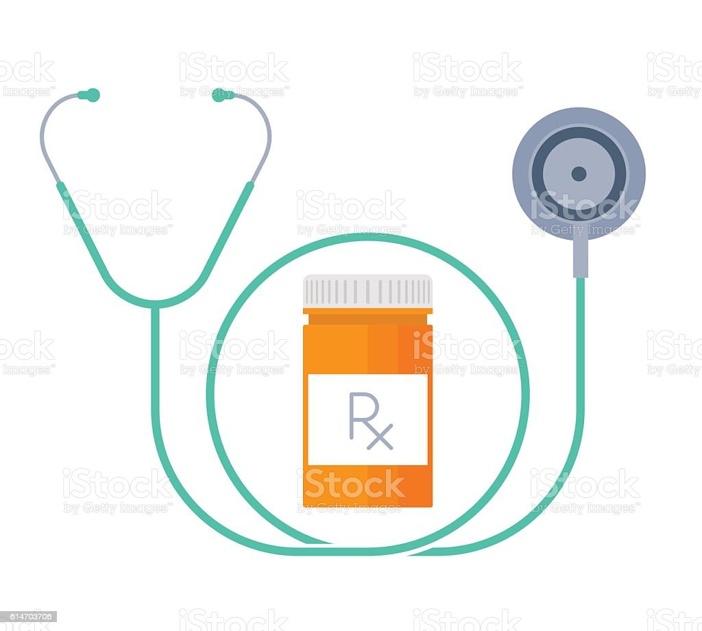 The stethoscope and container with drugs. Medicine flat concept illustration. vector art illustration