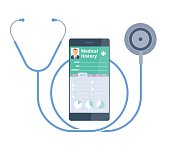 The stethoscope and smart phone with Patient Health medical history.