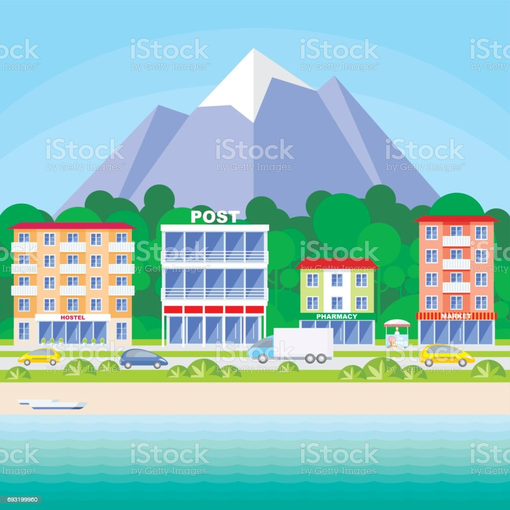 the street along the beach vector art illustration
