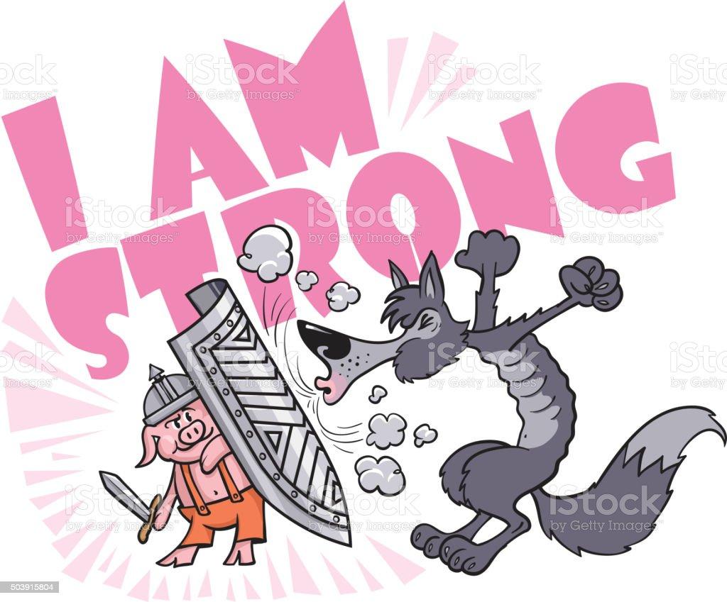The Strong Little Pig vector art illustration