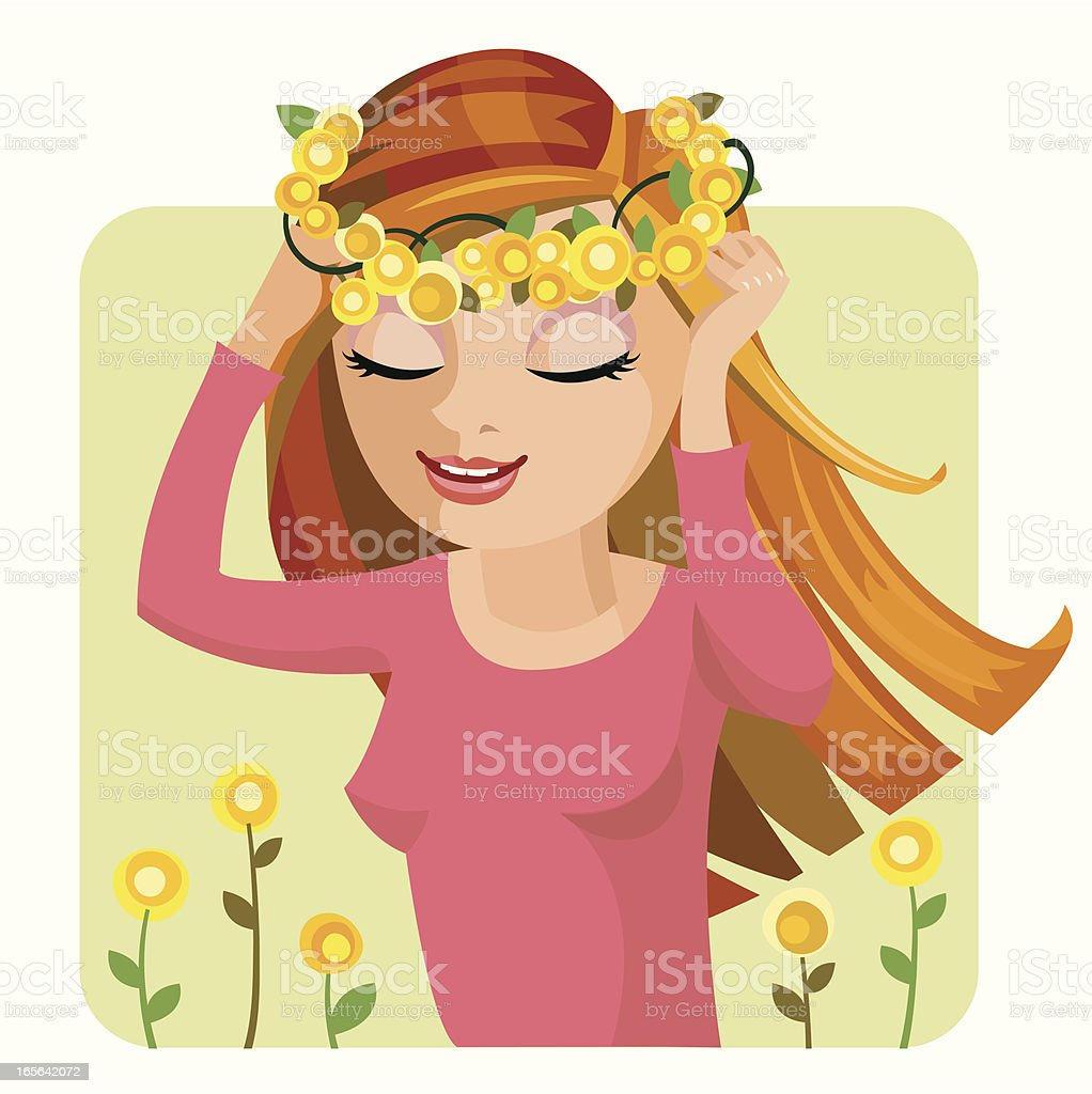 The sun in my hair. royalty-free stock vector art