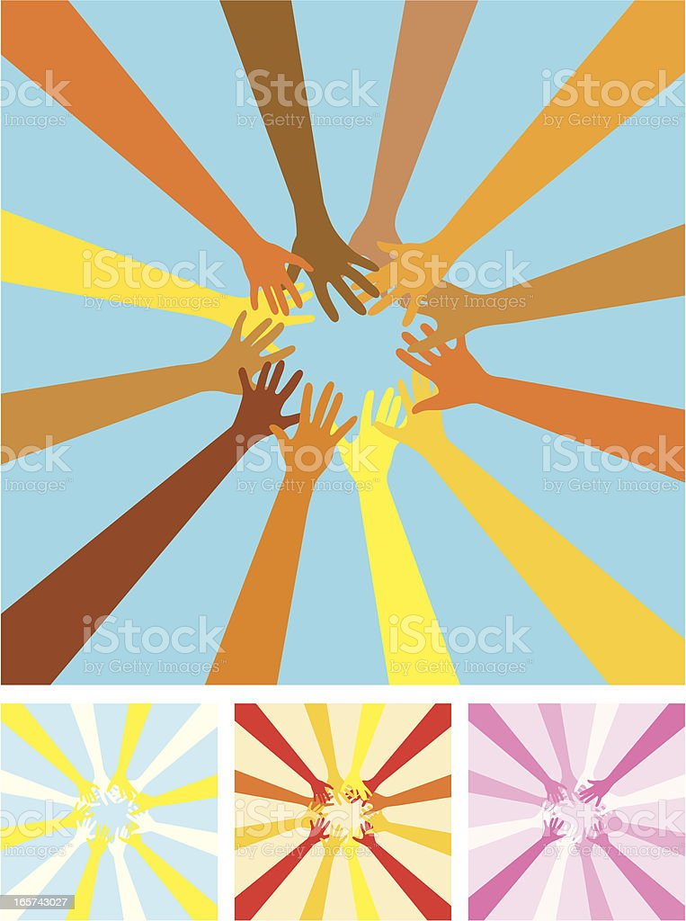The sun made of hands royalty-free stock vector art