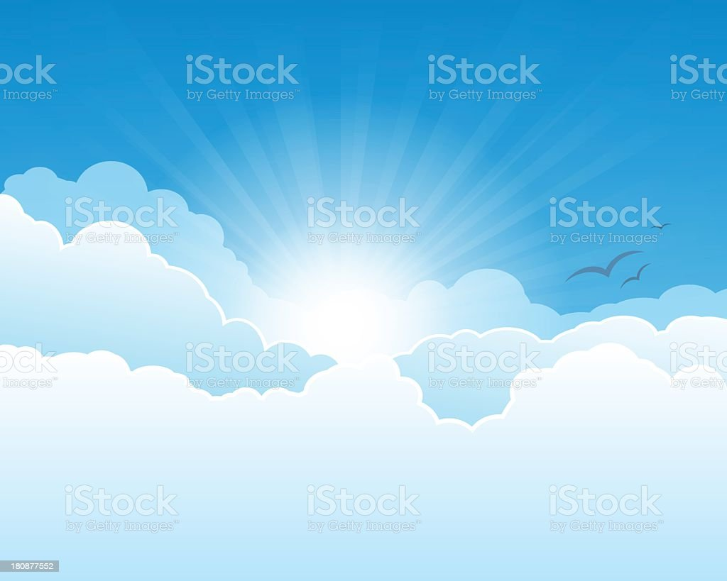 The sun shining through clouds vector art illustration
