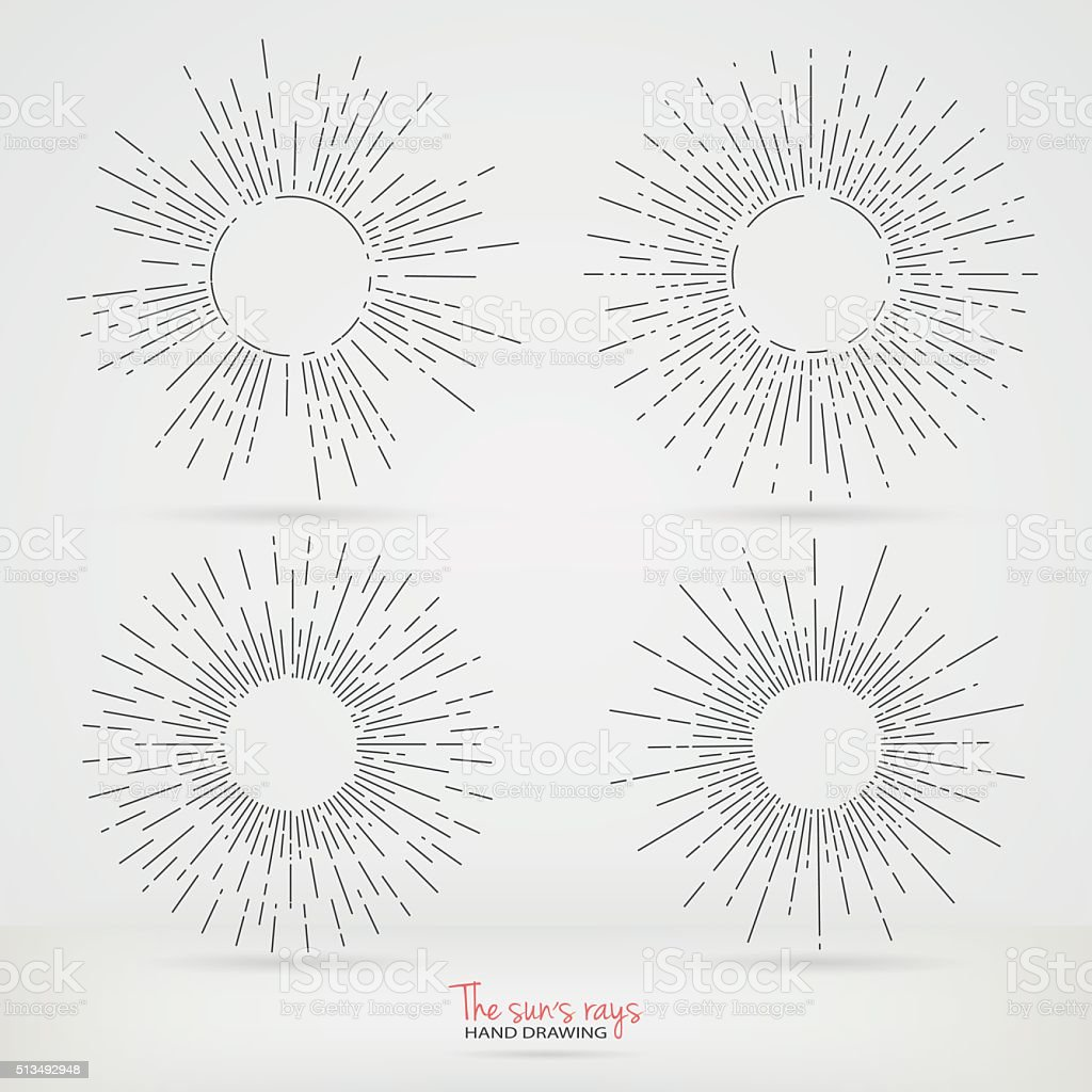 The sun's rays in the style of Hand Drawing. vector art illustration