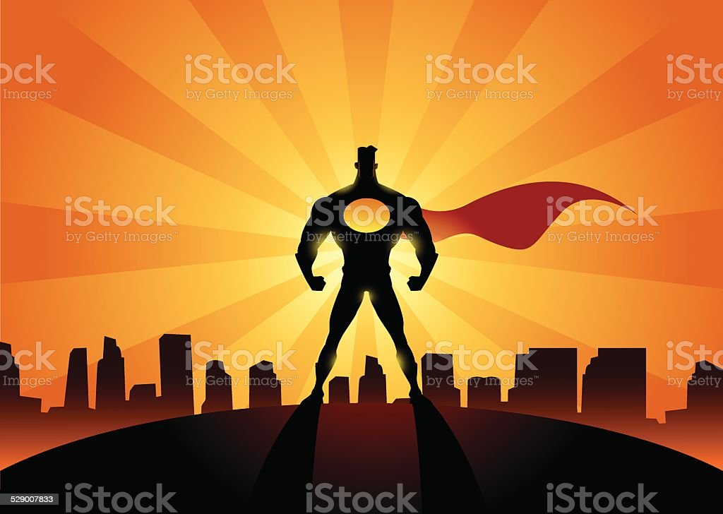 The Superhero of Our City vector art illustration