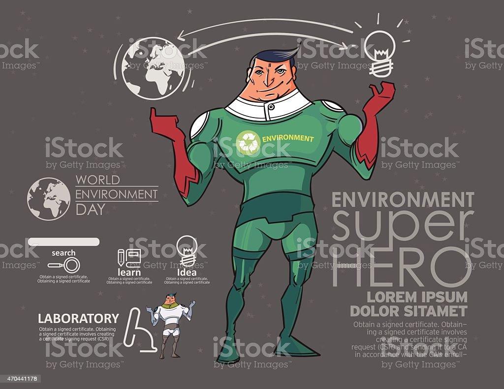 The superhero to the environment. vector art illustration