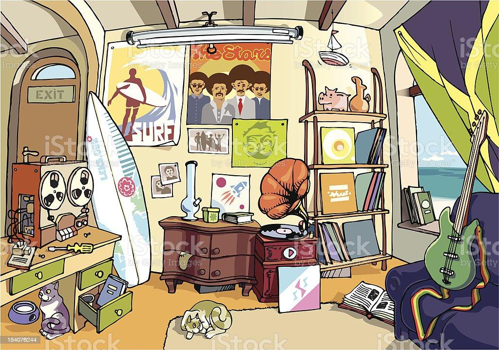 The surfer's room vector art illustration
