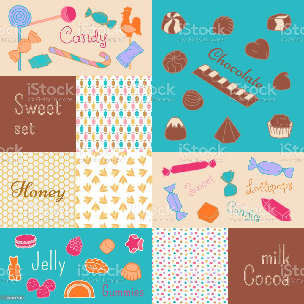 The sweetness of candy, chocolate, honey vector art illustration