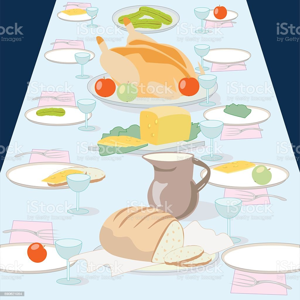 The table with the dishes royalty-free stock vector art
