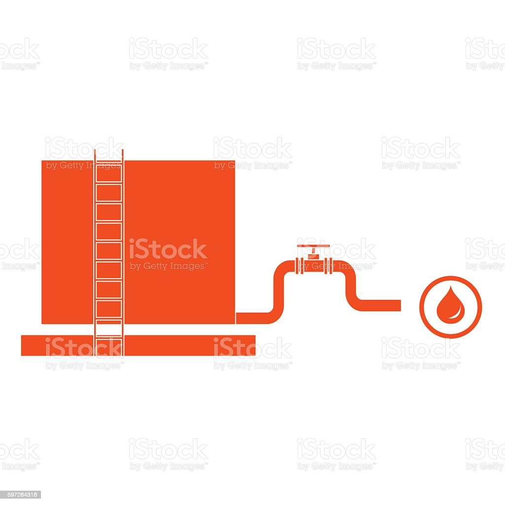 the tank with oil and a pipe with a valve vector art illustration