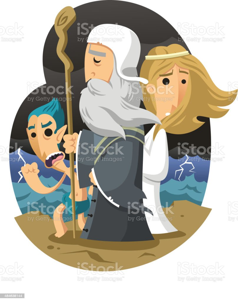 The Tempest William Shakespeare vector art illustration