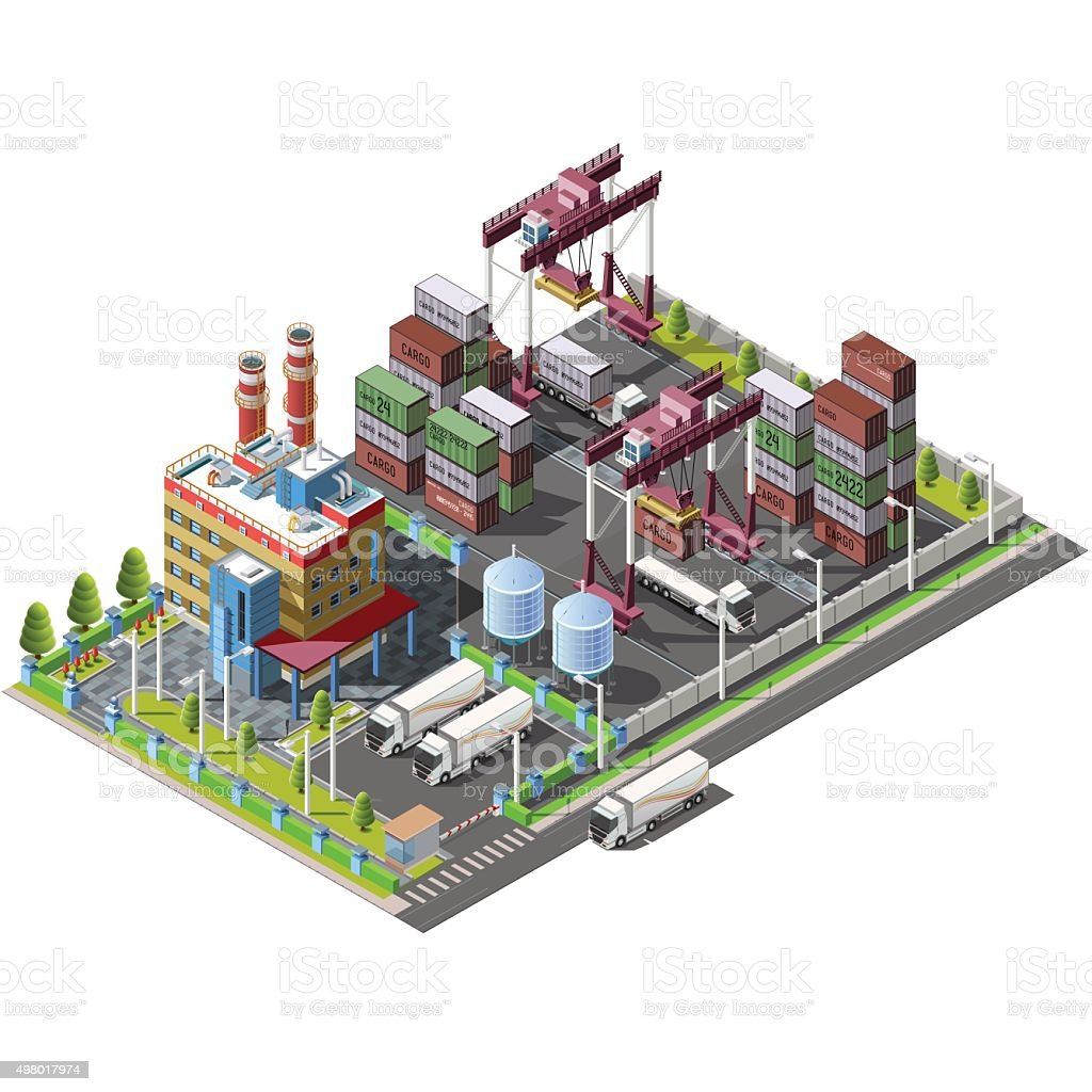 The territory warehouse, factory, with construction cranes vector art illustration
