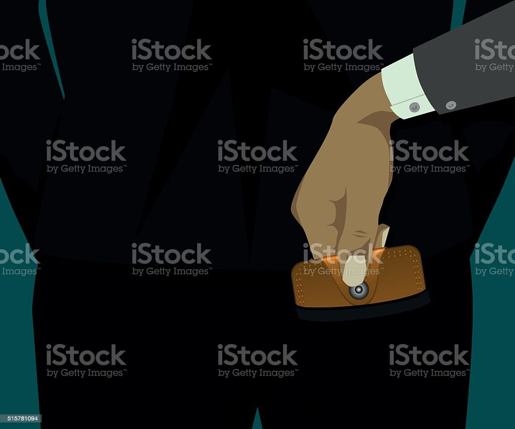 The thief took the wallet from the back pocket of someone vector art illustration