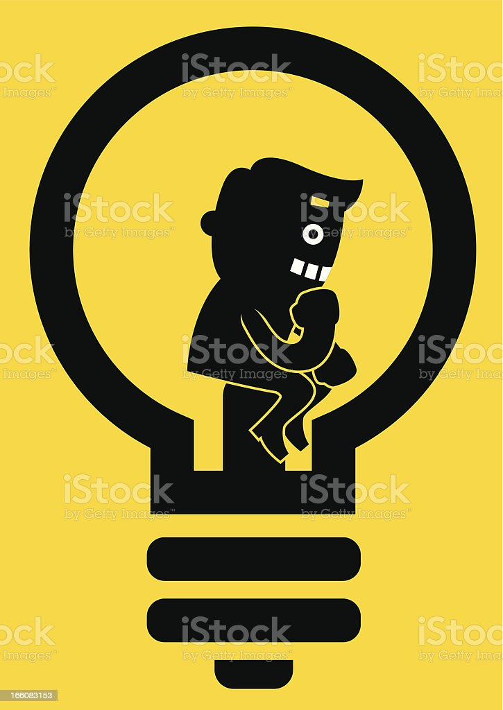 The Thinker in Bulb   Yellow Business Concept royalty-free stock vector art