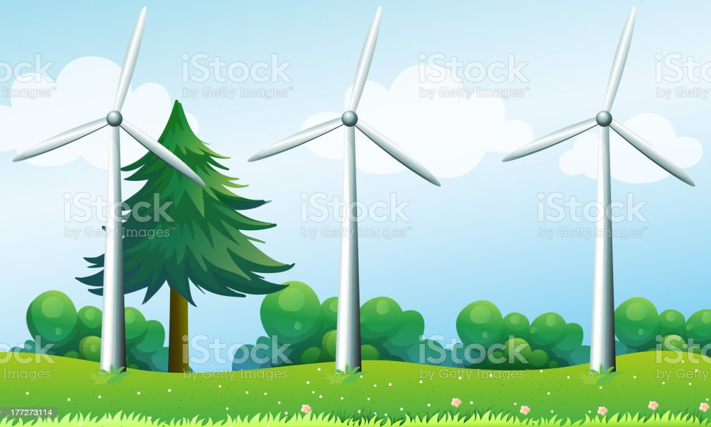 The three windmills above  hills royalty-free stock vector art