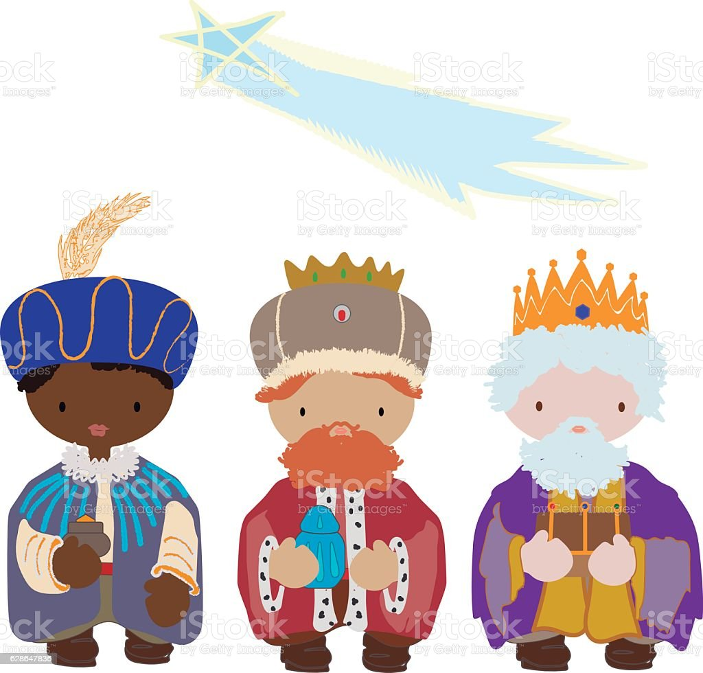 Los tres Reyes Magos vector art illustration