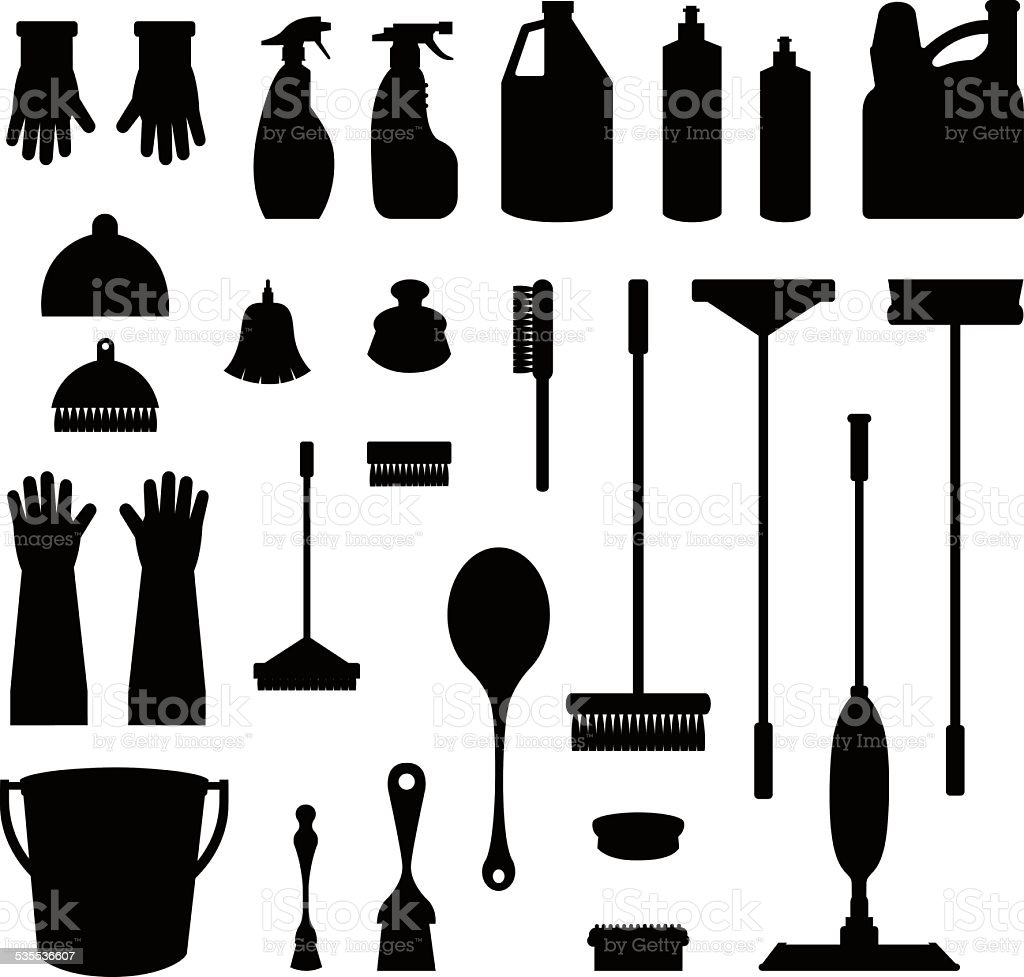 The tools of housecleaning vector art illustration