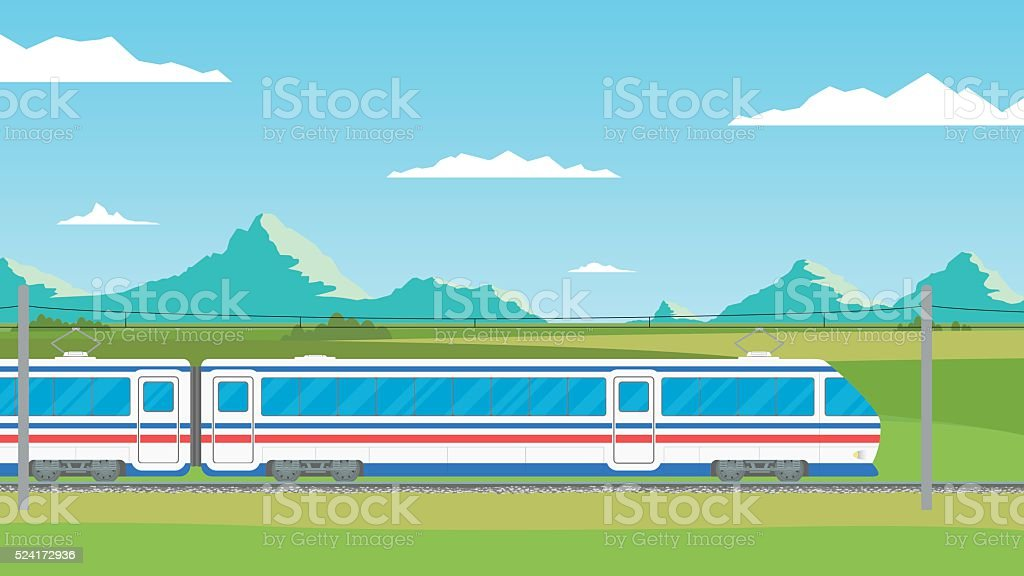 The train moves on railway against the backdrop mountain landscape. vector art illustration