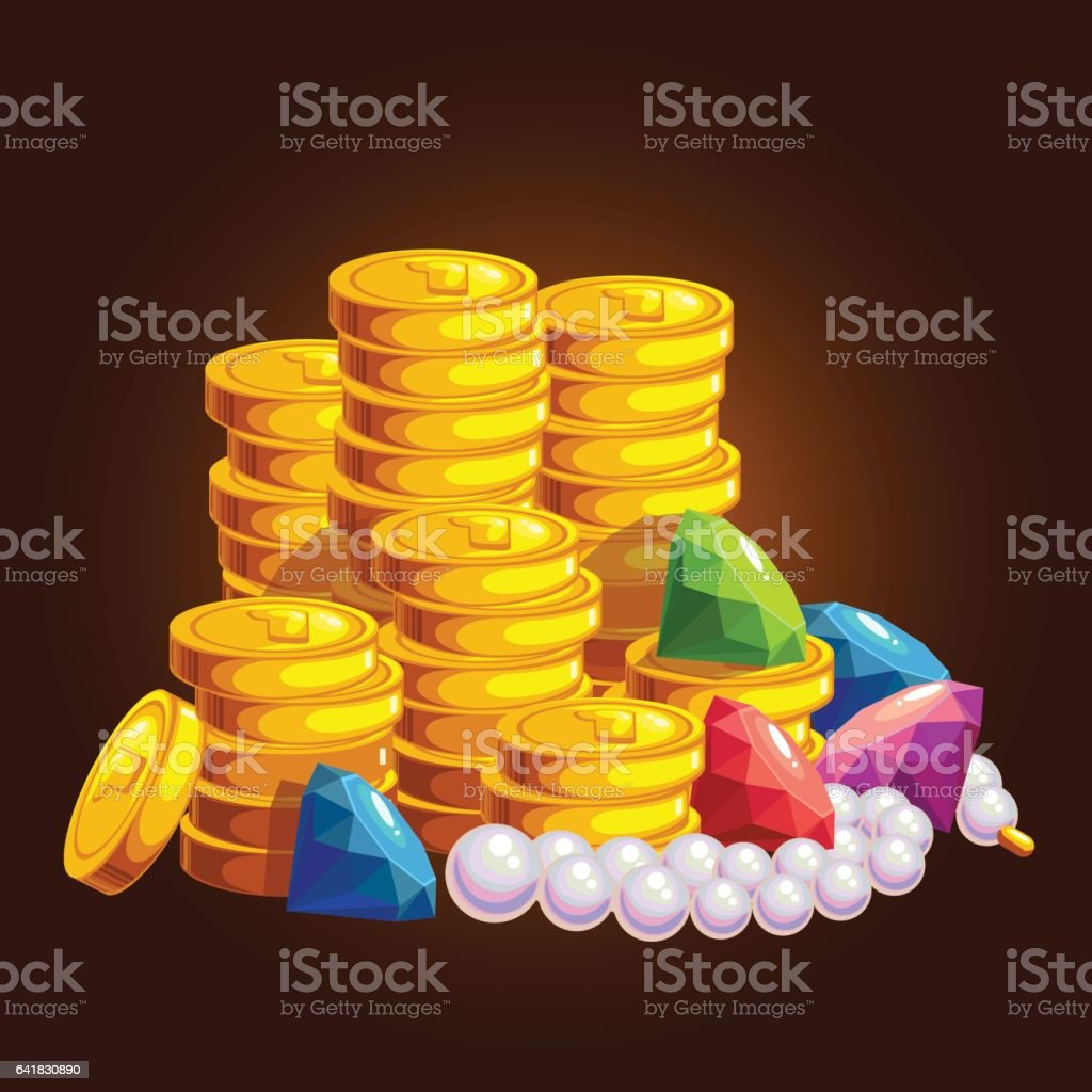 The treasure of gold coins vector art illustration