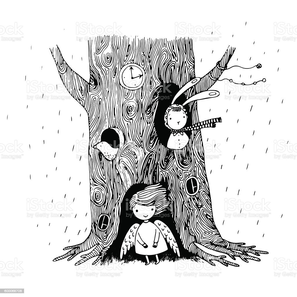 The tree, angel, hollow, watch, bunny and bird vector art illustration
