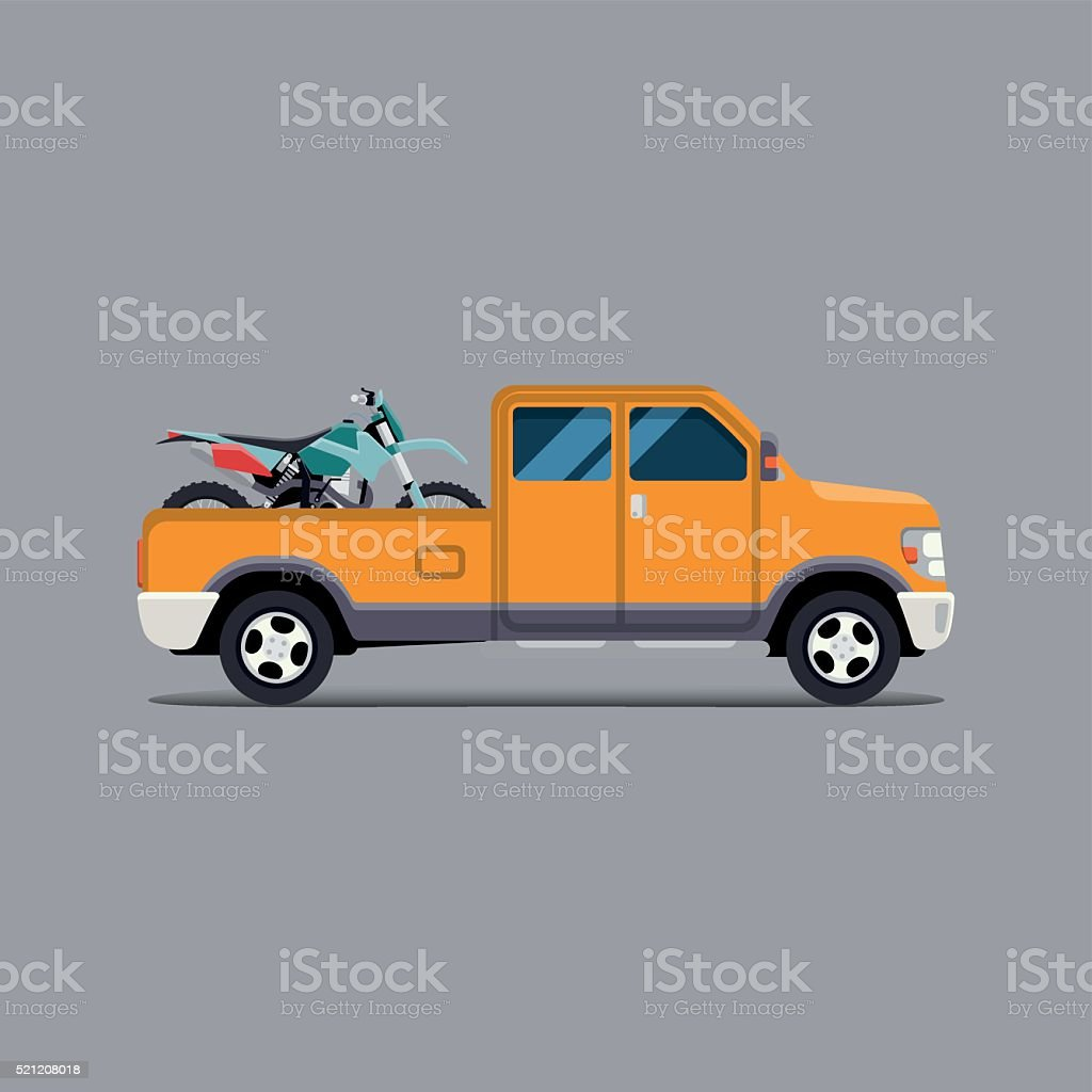 the truck carrying the  motorbike vector art illustration