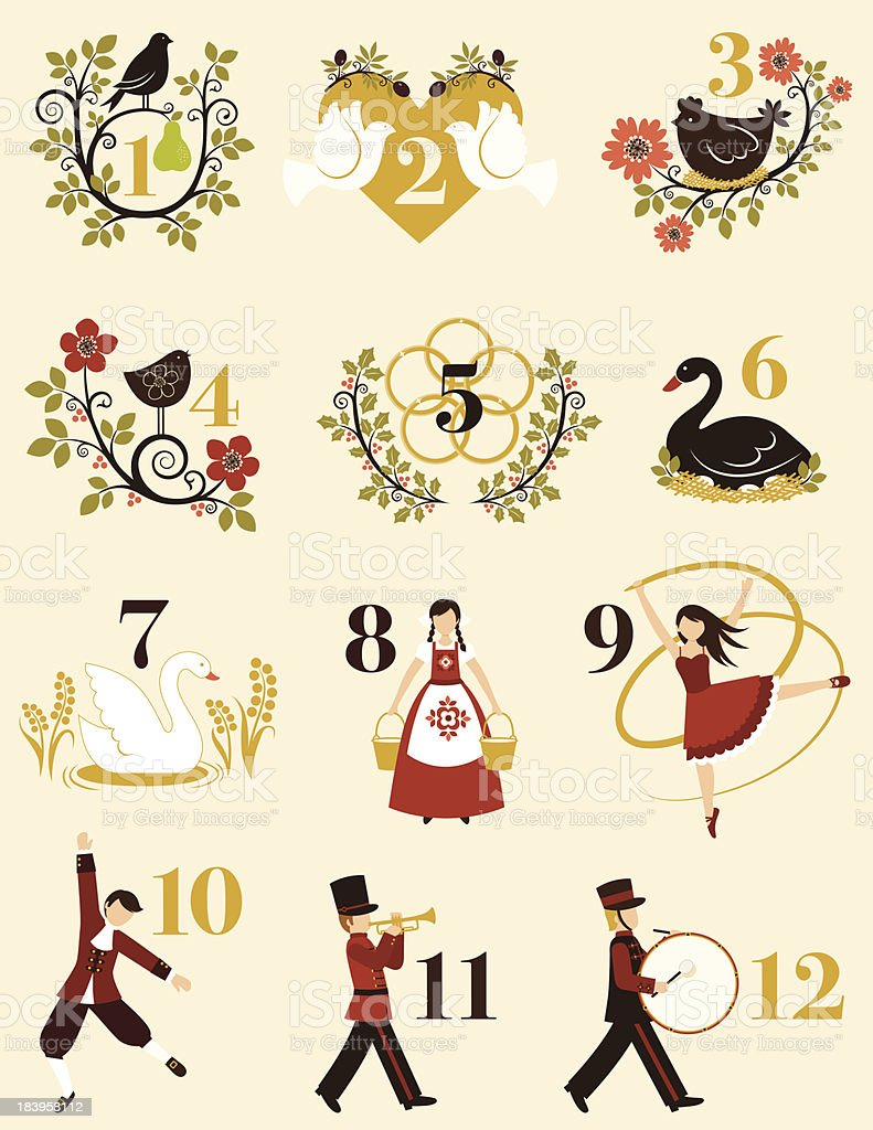 The Twelve Days Of Christmas vector art illustration