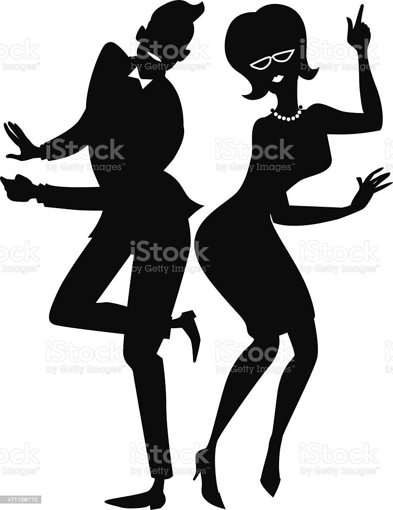 The twist couple silhouette vector art illustration