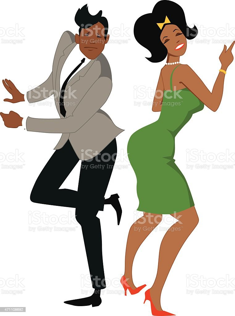 The twist dancers isolated on white vector art illustration
