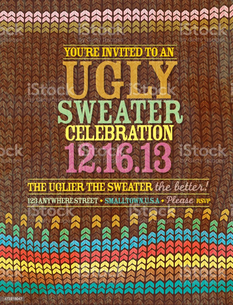 The 'Ugly Sweater' celebration invitation design template royalty-free stock vector art