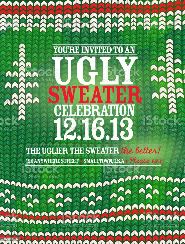 The 'Ugly Sweater' Holiday party celebration invitation design template vector art illustration