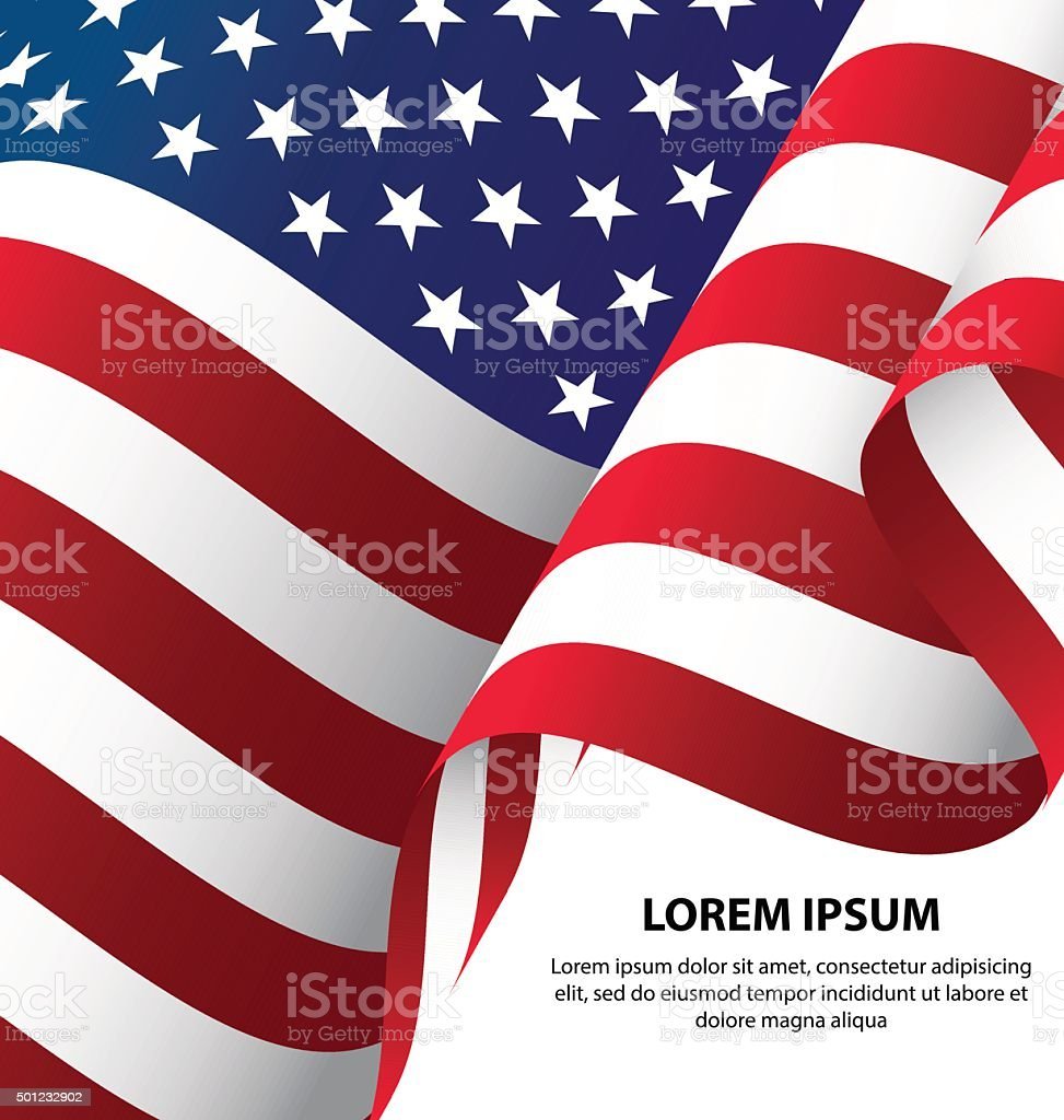 The USA Waving Flag Background vector art illustration