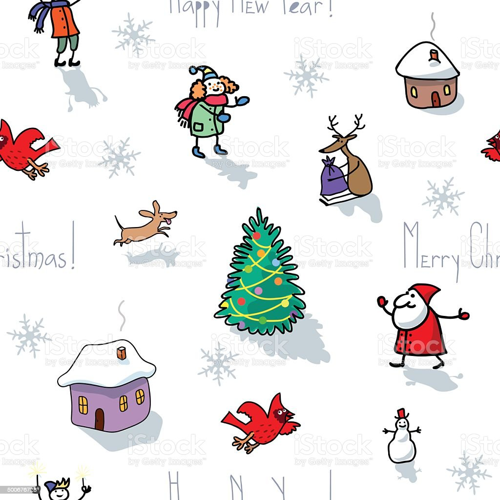 The vector seamless Christmas pattern on white background vector art illustration