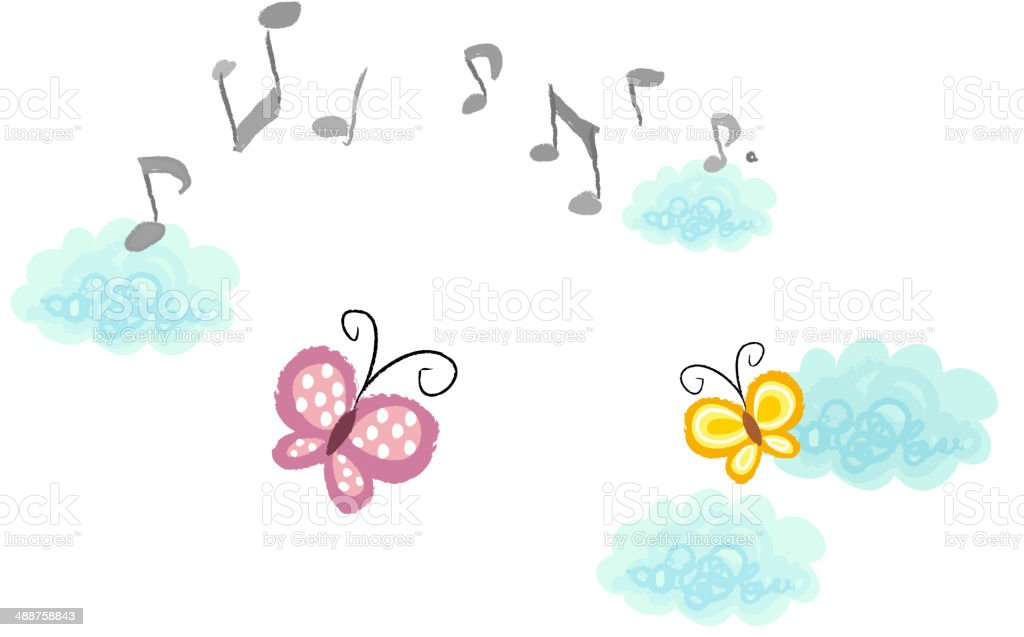 The view of butterfly vector art illustration