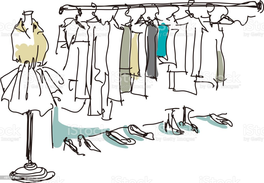 The view of clothes vector art illustration