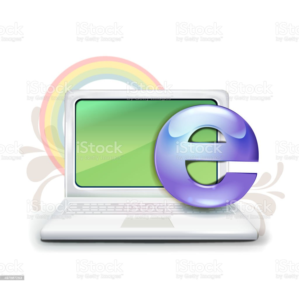The view of laptop vector art illustration