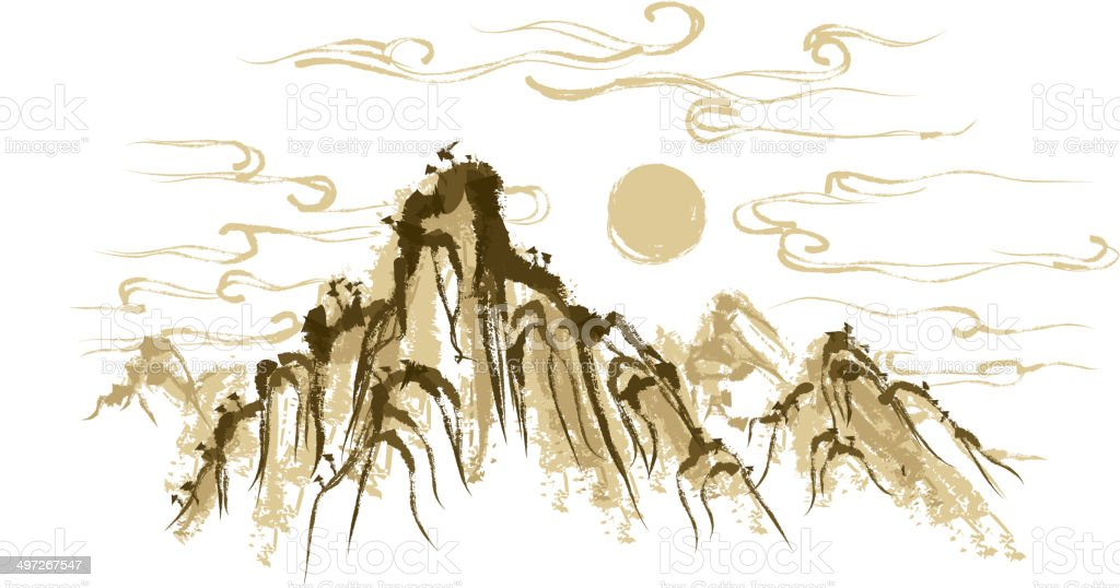 The view of mountain vector art illustration