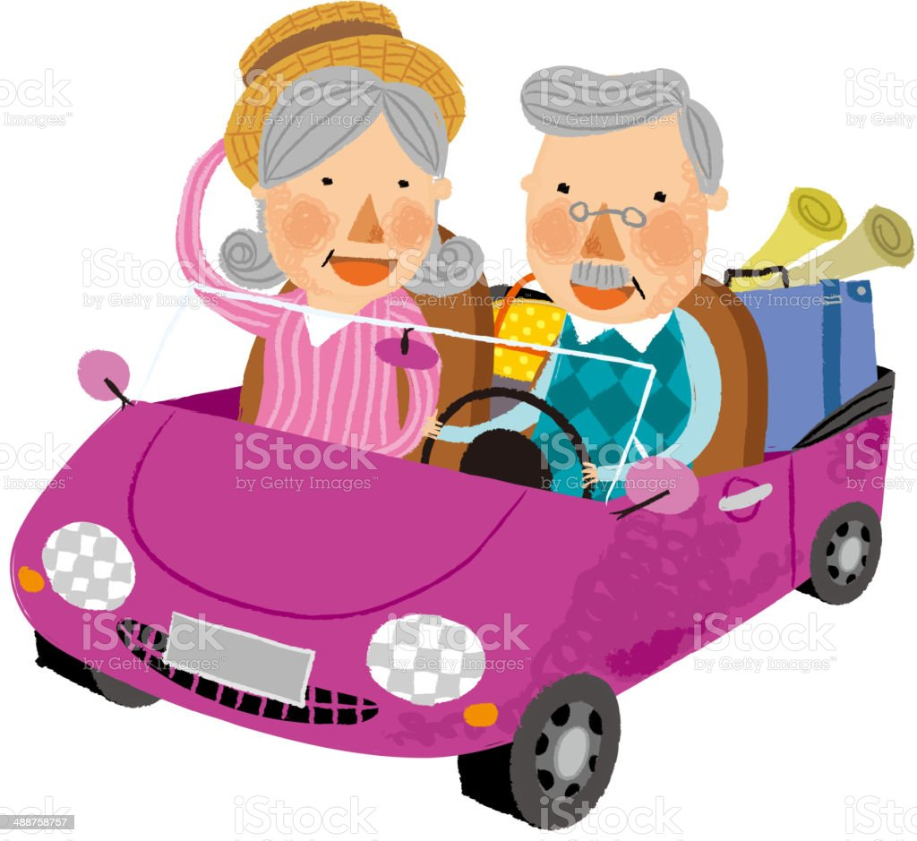 The view of old couple vector art illustration