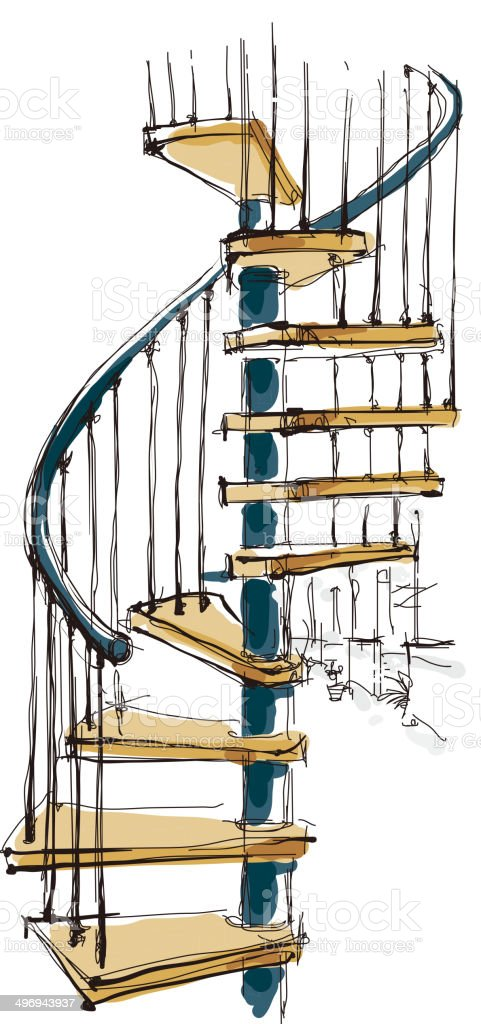 The view of staircase royalty-free stock vector art