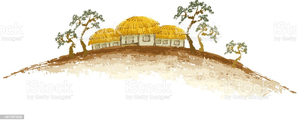 The view of thatched house royalty-free stock vector art